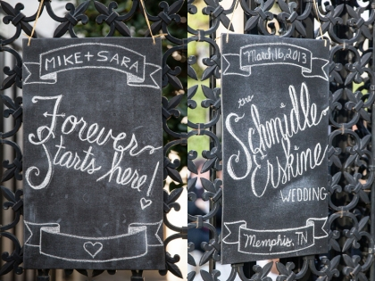 These two chalkboards hung on the gates to the garden.