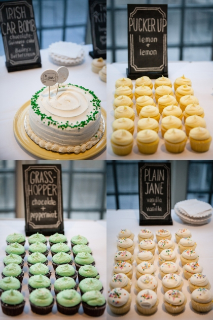 My favorite chalkboards were the ones on the Cupcake Buffet Table. We had 4 flavors of cupcakes, plus a cake to cut. It looked SO cute. Plus... cupcakes. YUM.